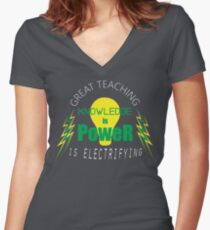Knowledge is Power - Great Teaching is Electrifying - Green & Yellow Women's Fitted V-Neck T-Shirt