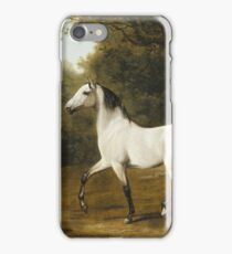 Jacques Laurent Agasse - A Grey Arab Stallion In A Wooded Landscape iPhone Case/Skin
