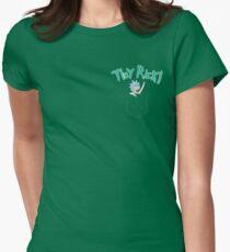 Tiny Rick Pocket Buddy Womens Fitted T-Shirt