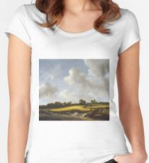 Jacob Van Ruisdael - Landscape With A Wheatfield Women's Fitted Scoop T-Shirt