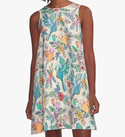 Whimsical Summer Flight A-Line Dress