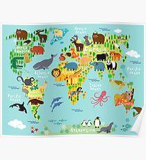 Welttierkarte Poster