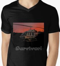 Air Evac Helicopter-Survivor Men's V-Neck T-Shirt