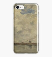 Jacob Maris - A Windmill And Houses Beside Water - Stormy Sky iPhone Case/Skin