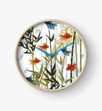 Fishes and bamboo Clock