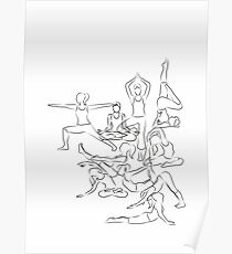 Yoga Asanas - drawing Poster