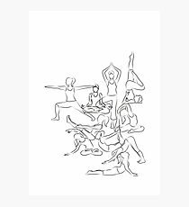 Yoga Asanas - drawing Photographic Print