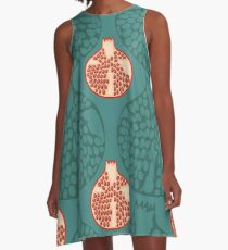 Hand draw pomegranate pattern  A-Line Dress