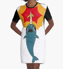 Pizza Narwhal Graphic T-Shirt Dress