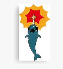 Pizza Narwhal Canvas Print