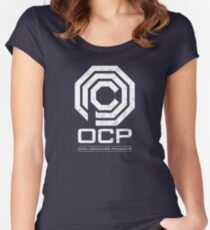 Robocop - OCP Omni Consumer Products White Distressed Variant Women's Fitted Scoop T-Shirt
