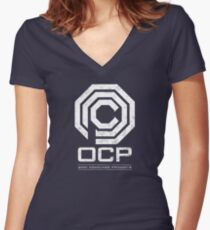 Robocop - OCP Omni Consumer Products White Distressed Variant Women's Fitted V-Neck T-Shirt