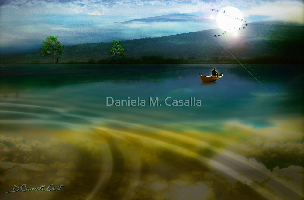Distant moonlit shore by Daniela M. Casalla