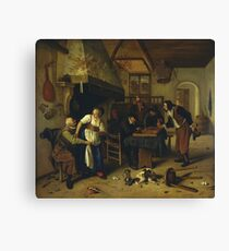Jan Steen - two Kinds Of Games, 1679 Canvas Print