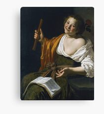 Jan Van Bijlert - Girl With A Flute Canvas Print