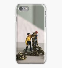 Chain Gang: 2 vintage model railway figures holding a bronze chain iPhone Case/Skin