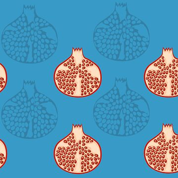 Hand draw pomegranate seamless pattern on blue background by kostochka