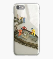 Men at work: tiny figures cleaning jewellery  iPhone Case/Skin