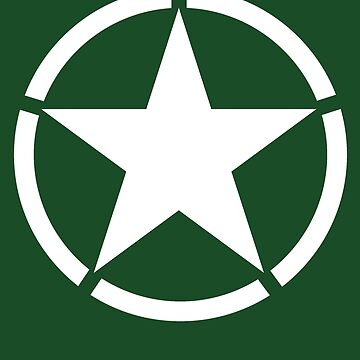 ARMY, AMERICAN, Army Star & Circle, WAR, WW11, Army Star, Jeep, USA, America, American, White on Green by TOMSREDBUBBLE