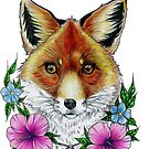 «Tattoo fox and flower» de SandraCasadoArt