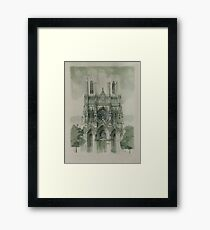 Draw Gothic Cathedrale Notre Dame in Reims Framed Print