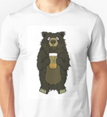 Brown Bearded Beer Bear Unisex T-Shirt