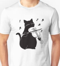 Black Cat Playing Violin Funny Musician Gift Unisex T-Shirt