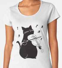 Black Cat Playing Violin Funny Musician Gift Women's Premium T-Shirt