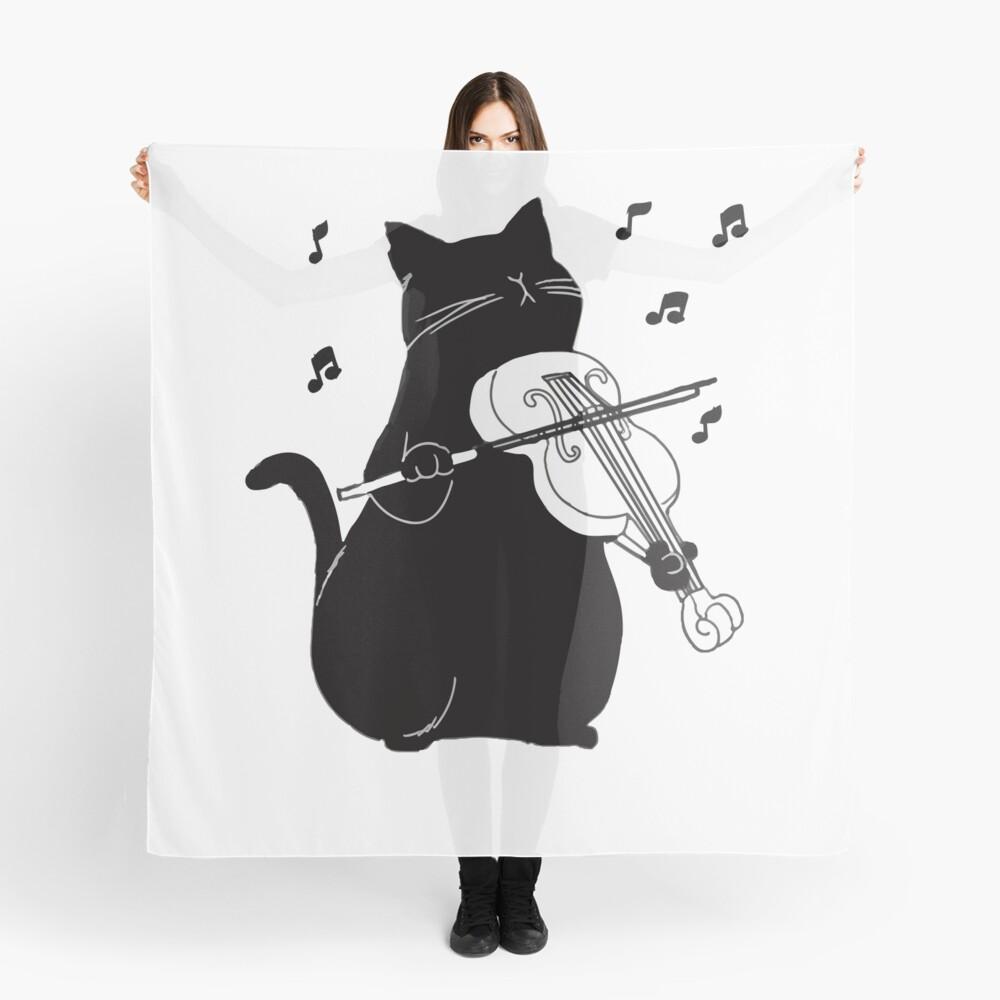 Schwarze Katze, die Violine lustiges Musiker-Geschenk spielt Tuch