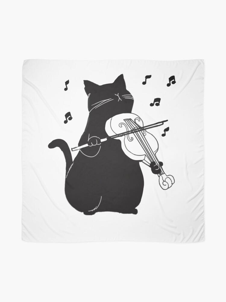 Alternative Ansicht von Schwarze Katze, die Violine lustiges Musiker-Geschenk spielt Tuch