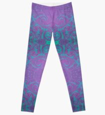 Dreamy turquoise and purple spirals Leggings