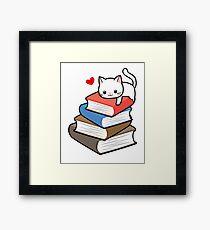 Cat Book Nerd Reader On Books Cute Geek Funny Framed Print