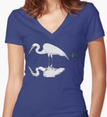 Wading Snowy Egret Reflection Women's Fitted V-Neck T-Shirt