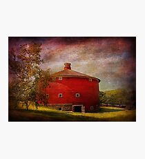 Farm - Barn - Red round barn  Photographic Print