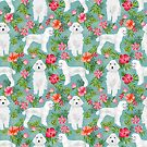 White Poodle floral hawaiian tropical dog breed dogs pet friendly pet art pattern by PetFriendly by PetFriendly