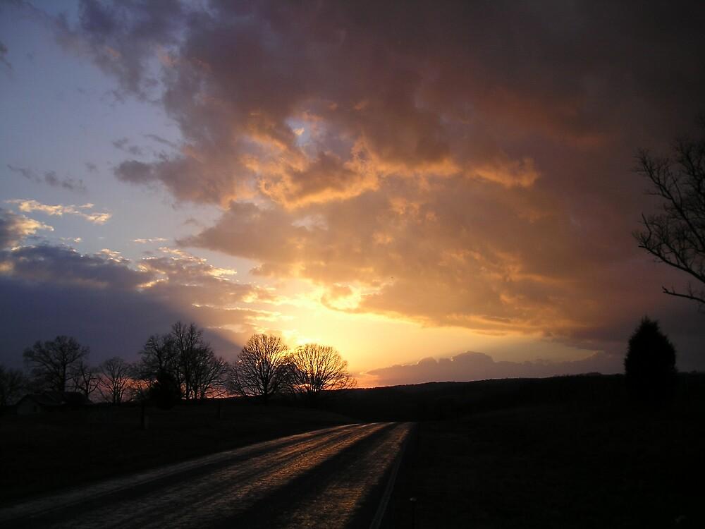 Highway Sunset by Linda Mathews