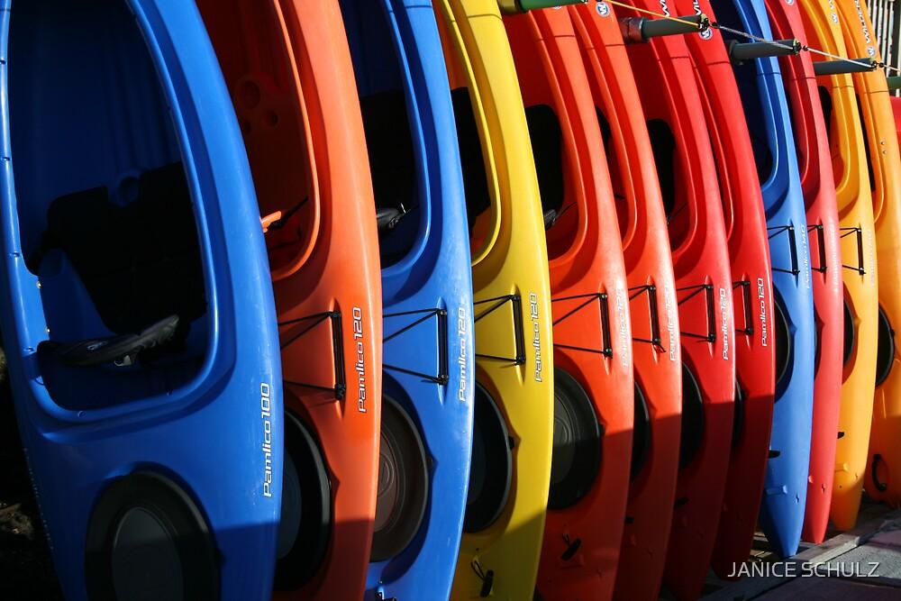 Kayaks in Morro Bay, Ca by JANICE SCHULZ
