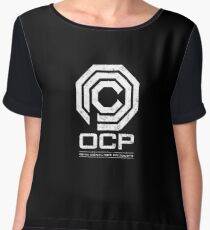 Robocop - OCP Omni Consumer Products White Distressed Variant Chiffon Top