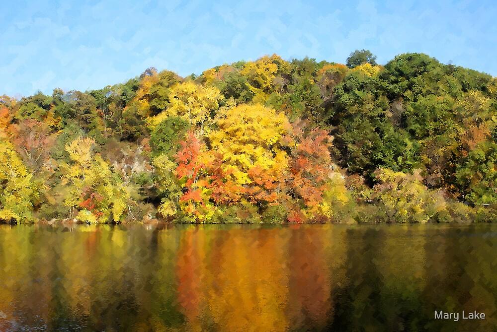 Autumn Lake Chalk Painting by Mary Lake