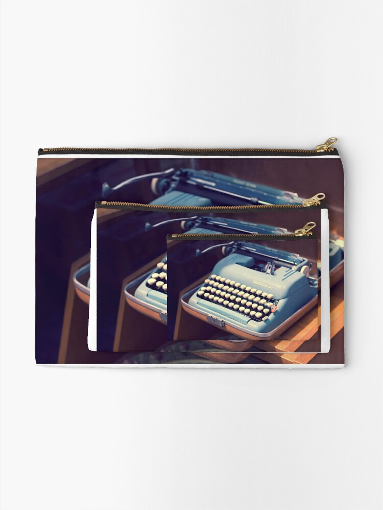 Alternate view of Vintage Baby Blue Typewriter Zipper Pouch