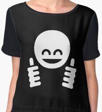 Thumb Up Emoticon Smiley (White) Chiffon Top