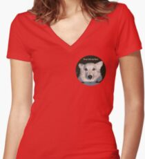 Corgi gaze into my eyes Women's Fitted V-Neck T-Shirt
