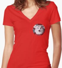 Corgi looking intensely at you Women's Fitted V-Neck T-Shirt