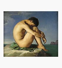 Jean Hippolyte Flandrin -Naked Young Man Sitting By The Sea Photographic Print