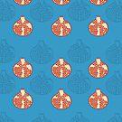 Hand draw pomegranate seamless pattern on blue background by kostochka