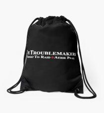 White team logo for darker things Drawstring Bag