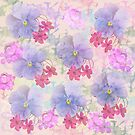 Spring flowers in purple, blue and pink by walstraasart