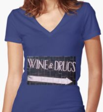 PekeBoom - Wine & Drugs - DroolingWithSanity Women's Fitted V-Neck T-Shirt