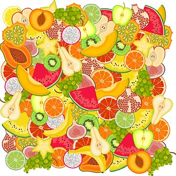 Bright summer pattern with fruits by kostochka