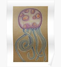 Jellyfish coloured pencil illustration Poster